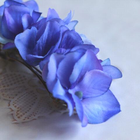ブルー  お花バレッタ