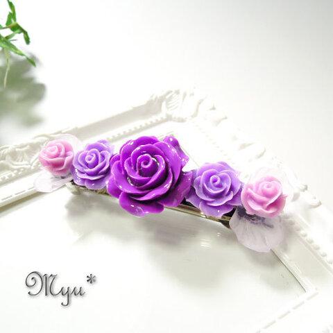 パープル系の薔薇と花びらのバレッタ