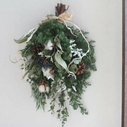 再販 特別掲載 ウィンタースワッグ クリスマスリース リース クリスマス スワッグ ドライフラワー お正月飾り お正月しめ縄飾り しめ飾りリース クリスマススワッグ シルバー