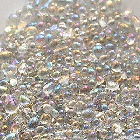 ガラスの粒 < オーロラ 硝子の雫 >10g レジン 封入 硝子のかけら カレット