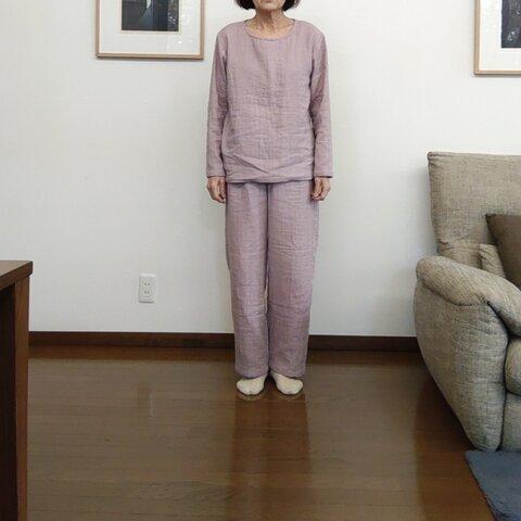 1点のみ トリプルガーゼのパジャマを兼ねたルームウェア グレイッシュピンク