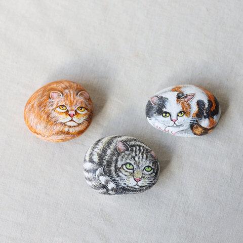 anvai オリジナル 手描き 和画石『三匹の猫』ストーンアート ねこ ネコ インテリア 雑貨 Q29B