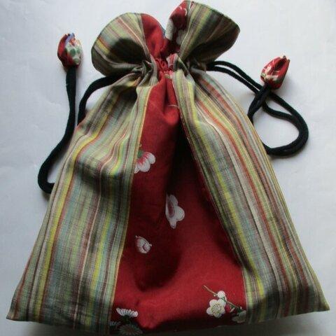 5904 花柄と縞の着物で作った巾着袋 #送料無料