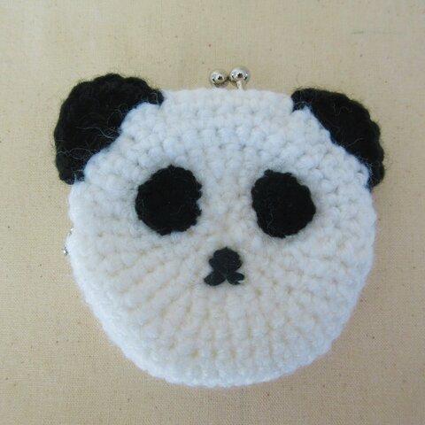 パンダの編み編みがまぐち