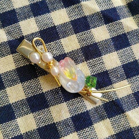 桜咲く水辺のかけら クリップ 水晶乗せ シンプル