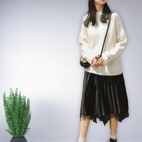 ホワイト 長袖 セーター ニット トップス レディース 冬 無地 おしゃれ 通勤 ゆったり 上品 ナチュラル 体型カバー オリジナル
