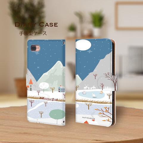 北欧の雪景色 手帳型ケース at2002-060 iPhone アンドロイド