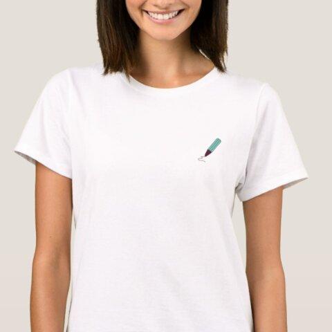 ワンポイント チョコミント ペンシル イラスト  Tシャツ