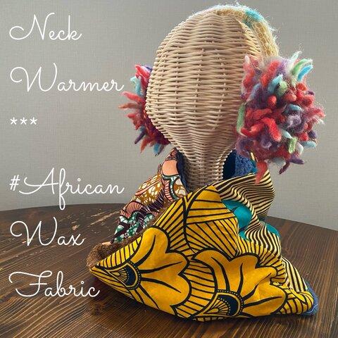 アフリカンプリントで作ったネックウォーマー☆いちょうとつばめのお散歩♪