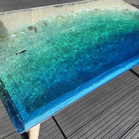 New センターテーブル エメラルドブルーのムーンビーチ  波打ち際のシェルや生き物たち minamo 水面 海 砂浜 サンゴ