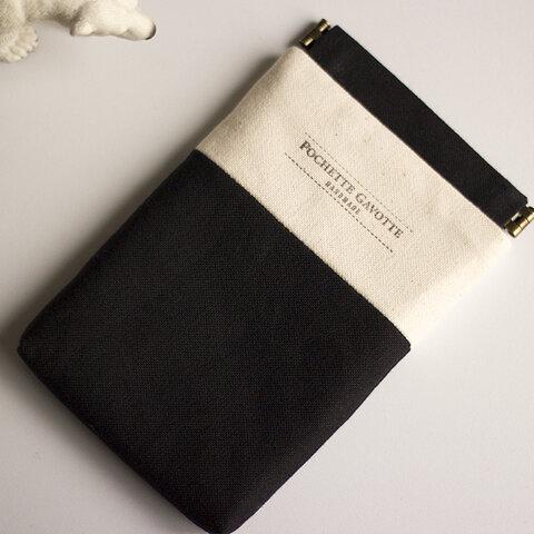 iPhoneケース スマホケース スマホポーチ バネポーチ  S-6 ブラック & クリーム