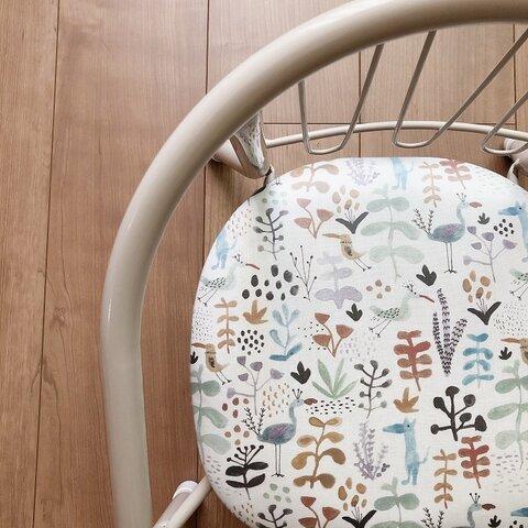 ベビーチェア キッズチェア 豆椅子 豆イス『ボタニカルバード』【名入れもOK】【出産祝い】【誕生祝い】
