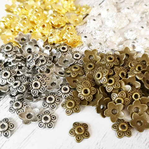 座金 約10mm(真鍮製) 100個入り ビーズキャップ 花座 菊座 スペーサー 00262  ゴールド・シルバー・ホワイトシルバー・アンティーク 金・銀・白銀・金古美