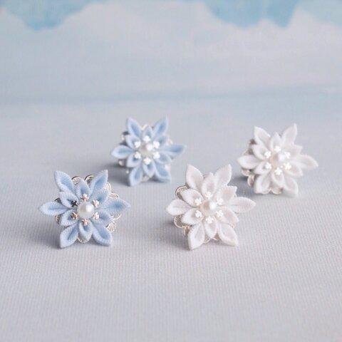 雪の結晶ピアス *つまみ細工*