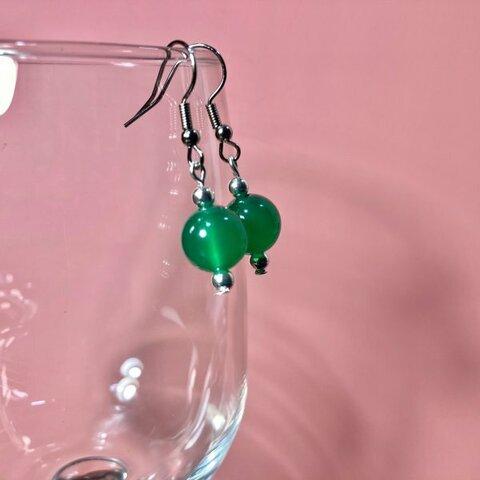 緑瑪瑙 ピアス 一粒フックピアス 10mm (シルバー) イヤリング、樹脂フック変更可 樹脂ピアス シンプル パワーストーン 天然石