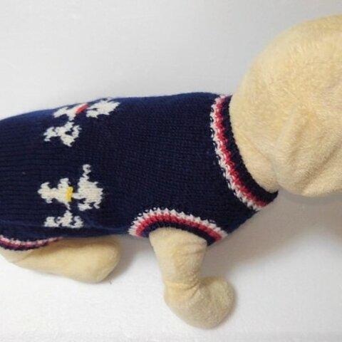 3匹のプードル柄が可愛いセーター(SS-1927-2)