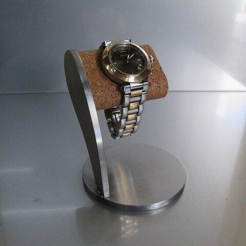 プレゼントにピッタリ!! ヘアーライン仕上げコルクシングル腕時計スタンド 190127