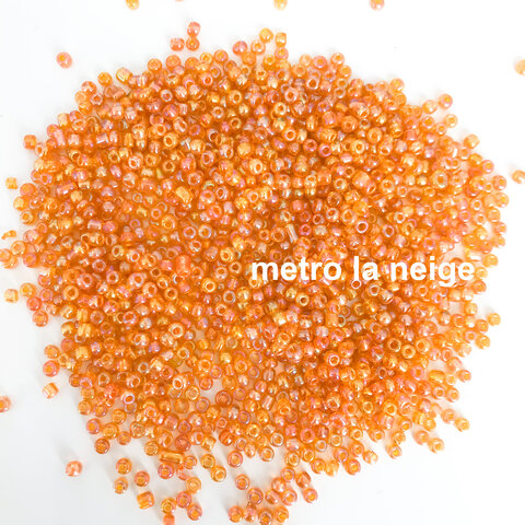 オレンジ〔約600個〕ガラスシードビーズ 3mm