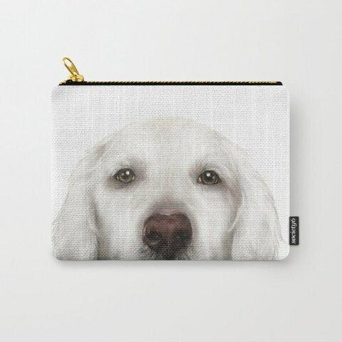 白ゴールデンレトリバー、イラストポーチ、お財布、両面プリント