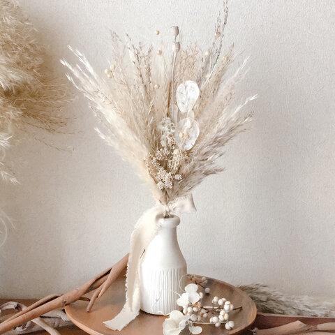 パンパスグラスと白い小花のブーケ  スワッグ  ドライフラワー