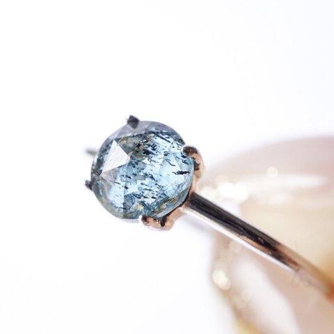 『海底に眠る』モスカイヤナイト くすみブルーの天然石 一粒リング (7号,9号,11号,13号,15号)