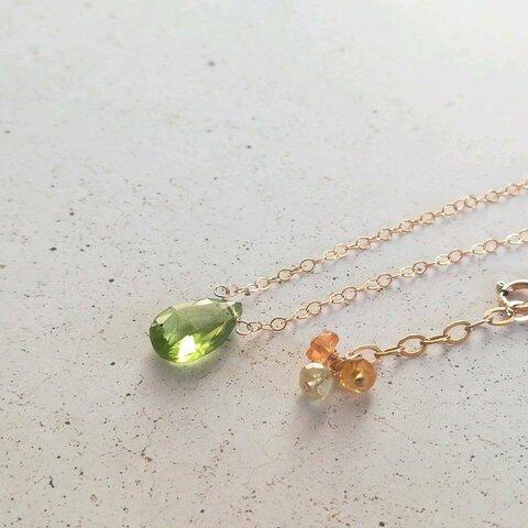 大粒ペリドットとサファイヤのネックレス * k14gf * 天然石 * ペンダント