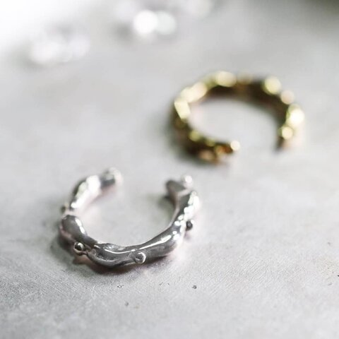 フリル/アンティークデザインイヤーカフ/silver925/真鍮/片耳/シルバー/