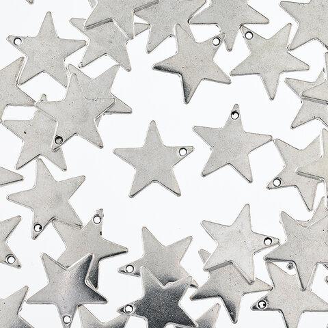 チャーム 星 アンティーク 銀古美 40個 セット 19mm 通し穴有 スター アクセサリー パーツ 手芸 ハンドメイド AP2795