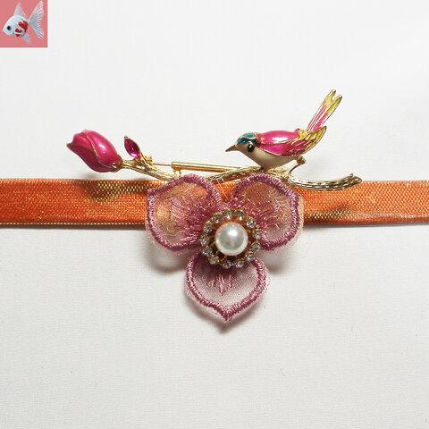 ◆鳥とお花の帯留め飾り② ピンク