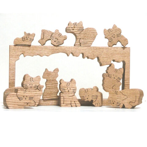 猫のパズル(組木)