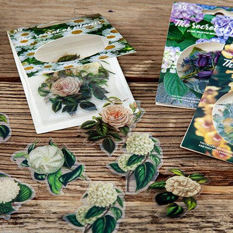 ビンテージ 植物フラワー 植物図鑑のPETフレークシール cy