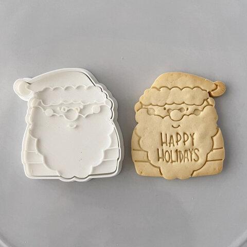 【クリスマス】正面サンタ クッキー型(スタンプ付き)【メッセージ】