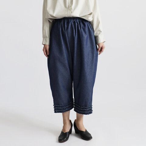 ●深まる秋SALE『大人甘めのふりフリル小花パンツ』80cm丈 コットン100%甘織デニムDENIM 低身長さんにもH79