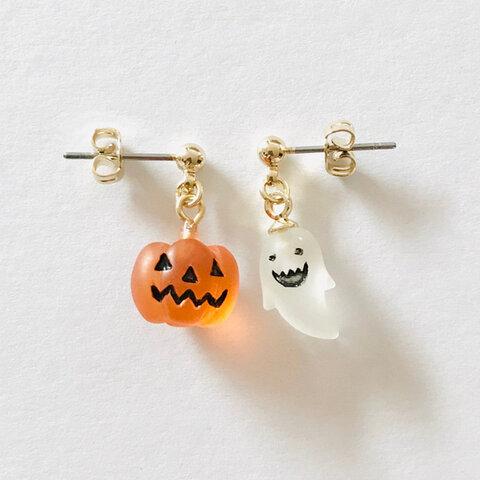 ピアス【おばけとかぼちゃのハロウィンピアス】ハロウィンアクセサリー