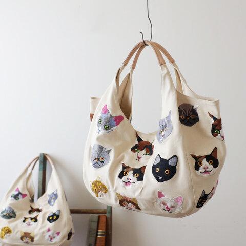 ⁂再入荷。anvai オリジナル刺繍 色どり猫 トートバッグ ナチュラル 生成りデニム×レザーハンドル P51