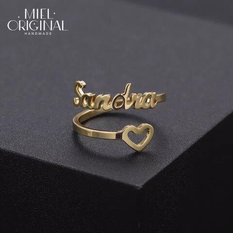 名入れ 二箇所文字入れ 中抜きハート オリジナル シンプル カスタムリング✨イニシャル 指輪
