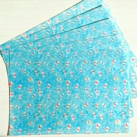 雪だるま柄トレーシングペーパーの包装紙(A4サイズ5枚)