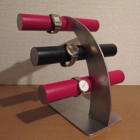 新作 3段赤黒赤反り返る支柱腕時計スタンド No.20210723