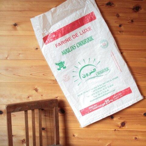 【穀物袋】CHOUROUK 緑/モロッコ*クスクス袋*小麦粉袋 リサイクル エコバッグ ハンドメイド