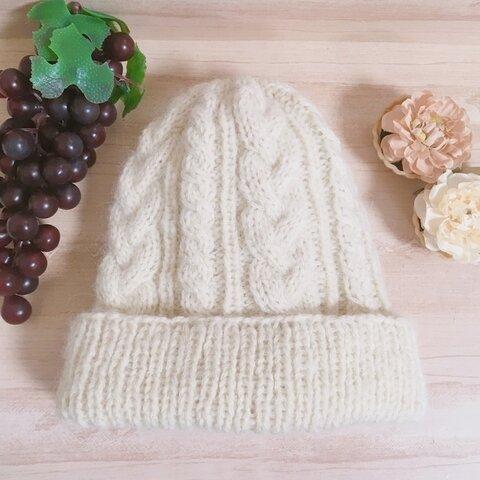 アラン模様のふわふわニット帽