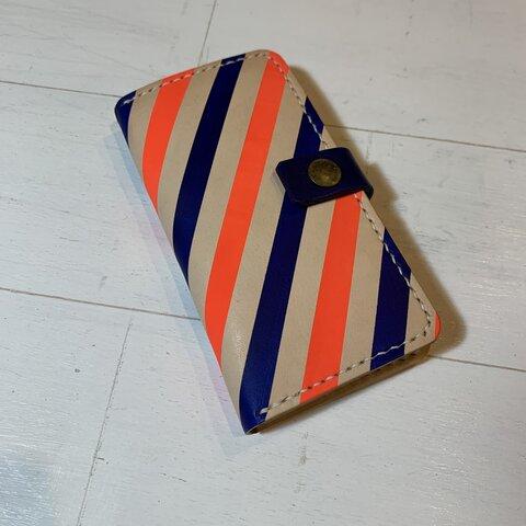 【現品SALE】手帳型iPhoneケース(第二世代SE/7/8 対応) オレンジ&ブルーストライプ
