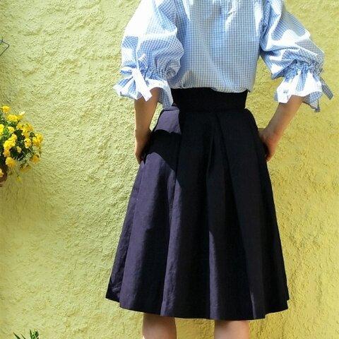 再販・リボン付きバルーン袖 水色ギンガムチェックブラウス プルオーバー
