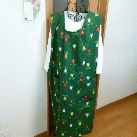 着物リメイク 絣模様のジャンバースカート