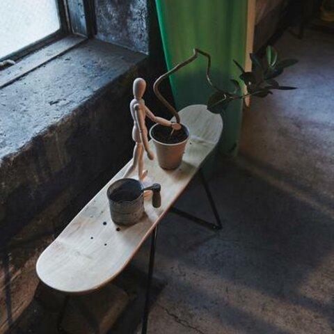 ストリート&パークスケートボード デッキ テーブル (ナチュラル) W80cm