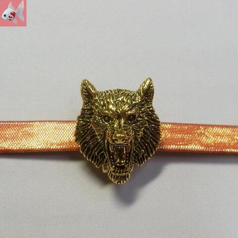 ◆オオカミの帯留め飾り② ゴールド