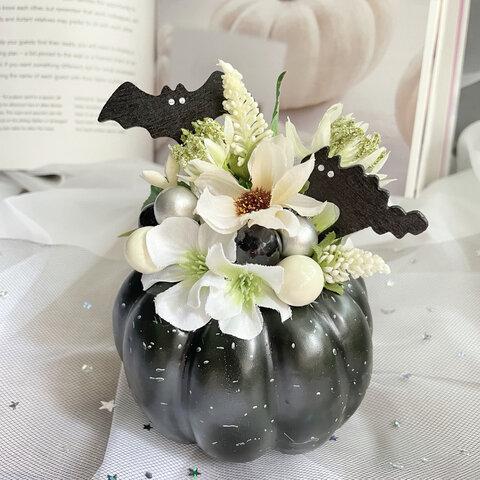 ハロウィンアレンジ・ブラックハロウィン・大人のハロウィン・モノトーンインテリア・ハロウィン装飾・ハロウィン・フラワーアレンジ・ハロウィンギフト・プレゼント