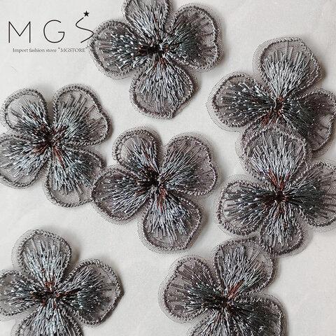【4個】32mm ミニサイズ 刺繍 お花 フラワー オーガンジー グレー P0085-gr