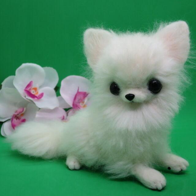 羊毛フェルト 犬 チワワ ロングコート 白 ホワイト ハンドメイド 置物